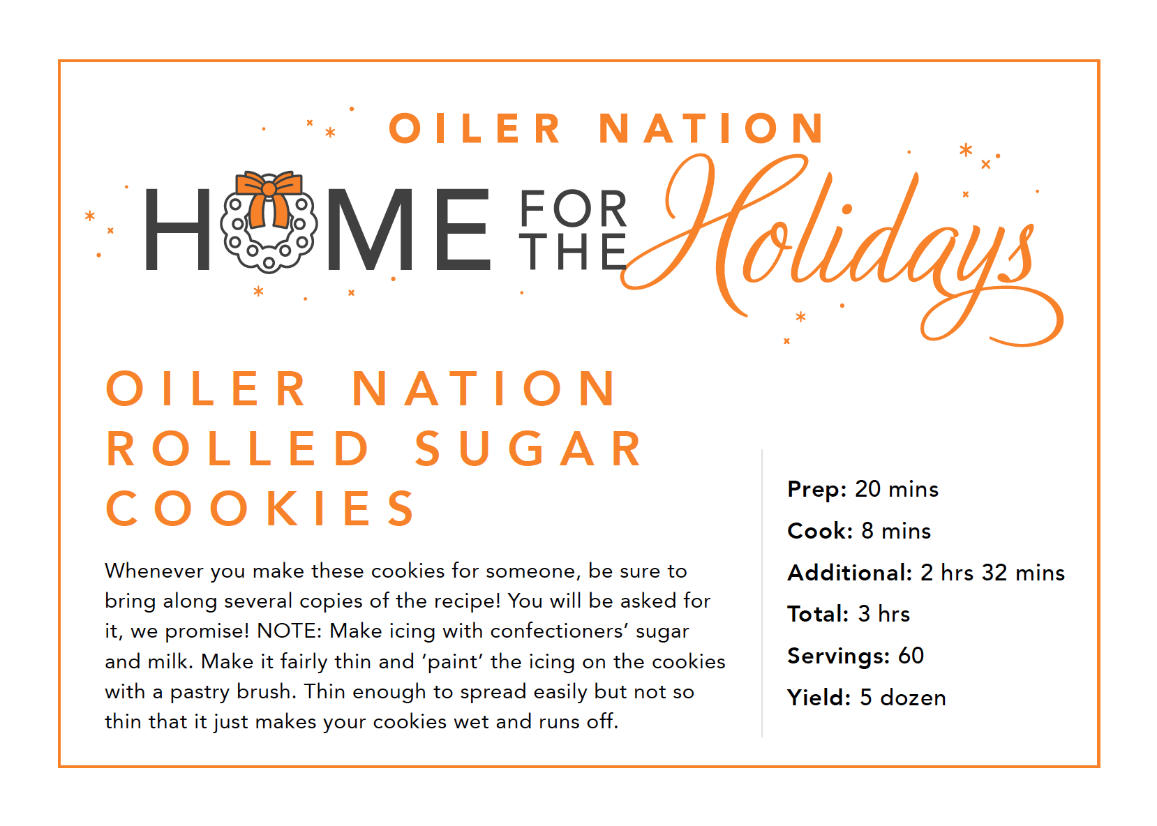 Oiler Nation Home for the Holidays cookie recipe card